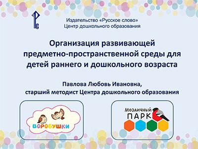 Организация развивающей предметно-пространственной среды для детей раннего и дошкольного возраста
